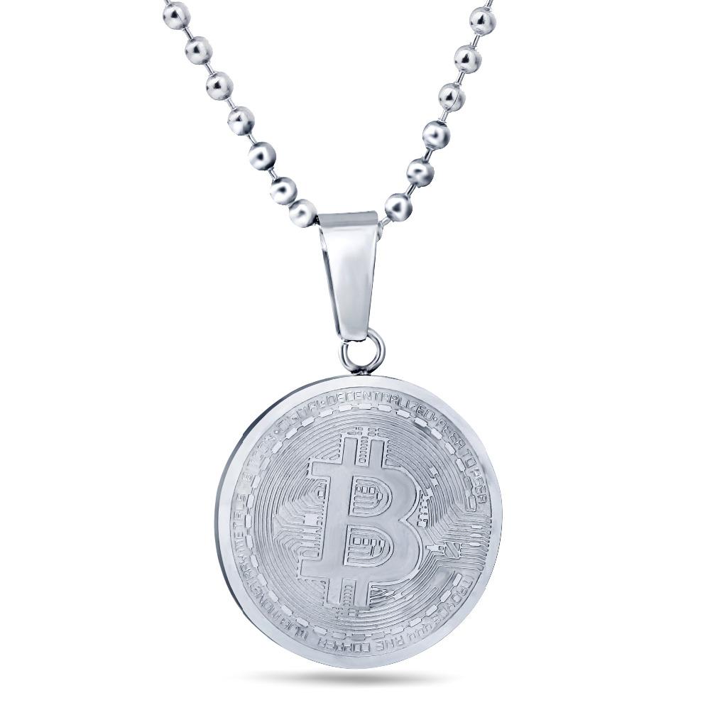 [해외]클래식 남자 비잔틴 목걸이 패션 새로운 스테인레스 스틸 60cm 긴 체인 Bitcoin 펜 던 트 목걸이 남자에 대 한/Classical Men Byzantine Necklaces Fashion New Stainless Steel 60cm Long Chain B