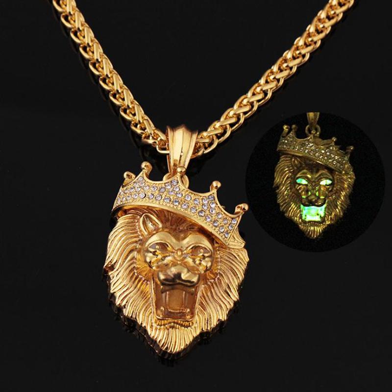 [해외]골드 컬러 힙합 형광 사자 머리 펜던트 70cm 체인 HipHop 아이스 라이온 킹 크라운 남자 & s 선물 파티 액세서리/Gold color Hip-Hop Fluorescent Lion Head Pendant 70cm Chain HipHop iced o