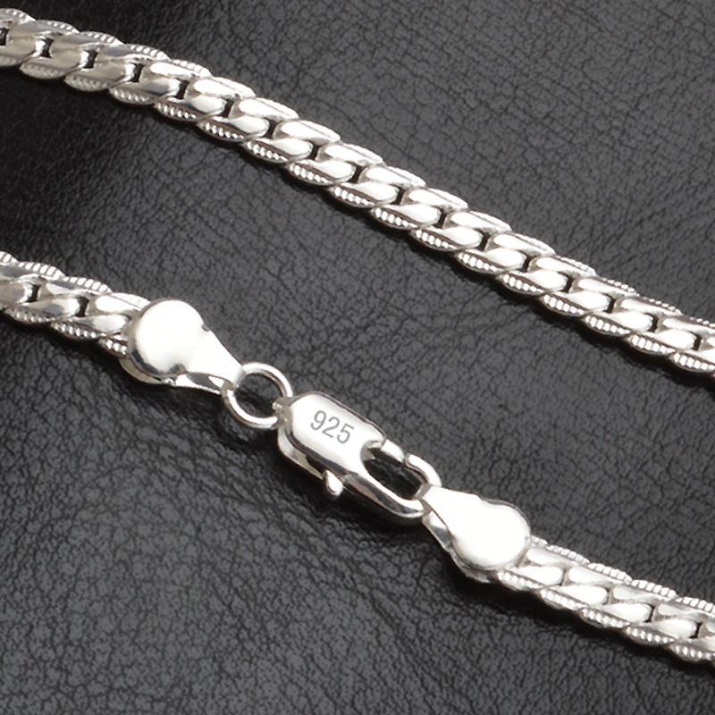 [해외]TJP 20 인치 5 MM 트렌디 한 남자 925 실버 목걸이 체인 여성 패션 파티 피아노 체인 목걸이 소년 액세서리/TJP 20 Inch 5MM Trendy Men 925 Silver Necklace Chain For Women Party Fashion Sil