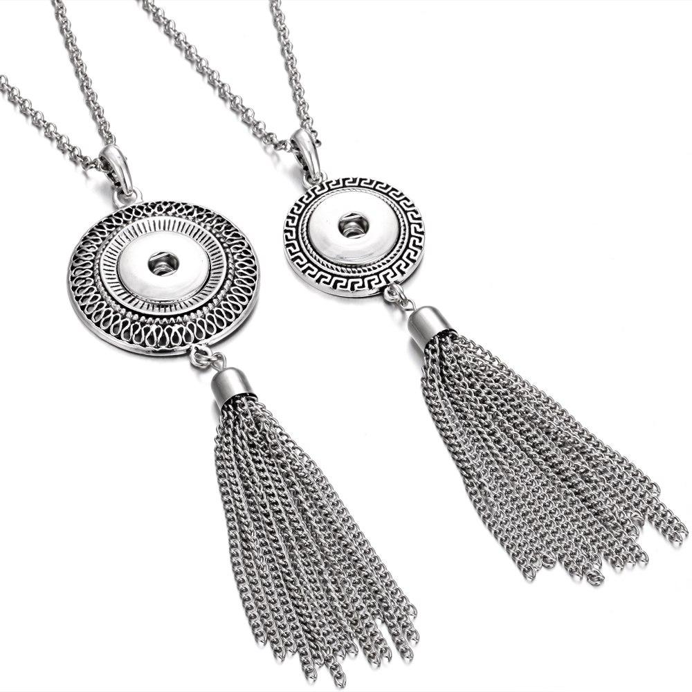 [해외]새로운 스냅 쥬얼리 긴 술 스냅인 단추 목걸이 빈티지 금속 긴 체인 목걸이 맞는 18mm 20mm 스냅 버튼/New Snap Jewelry Long Tassel Snap Button Necklace Vintage Metal Long Chain Necklace F