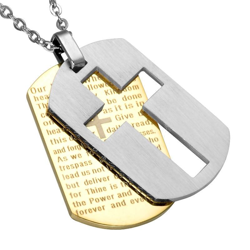 [해외]개 태그 크로스 목걸이 & amp; 펜던트 골드 컬러 스테인레스 스틸 체인 성경 성경 기독교 보석 남자를크리스마스 선물/Dog Tag Cross Necklaces & Pendant Gold Color Stainless Steel Chain Bibl