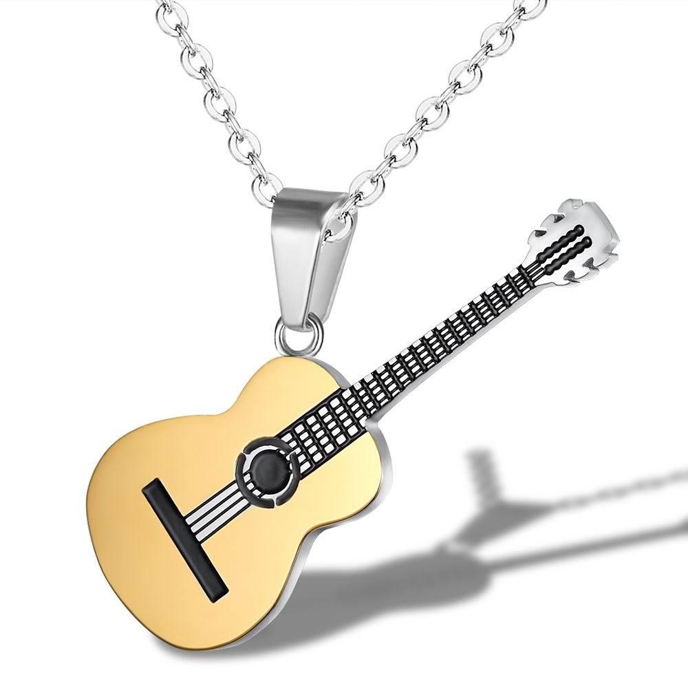 [해외]남자 보석에 대한 락 두 톤 골드 컬러 티타늄 스테인레스 스틸 음악 기타 펜던트 링크 체인 목걸이/Rock Two Tone Gold Color Titanium Stainless Steel Music Guitar Pendant Link Chain Necklace