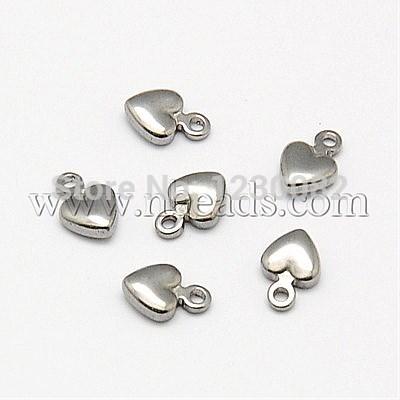 [해외]304 스테인레스 스틸 하트 참, 목걸이 쥬얼리 만들기, 스테인레스 스틸 색상, 6x4x2mm, 구멍 : 0.5mm/304 Stainless Steel Heart Charms, for Necklace Jewelry Making, Stainless Steel Co