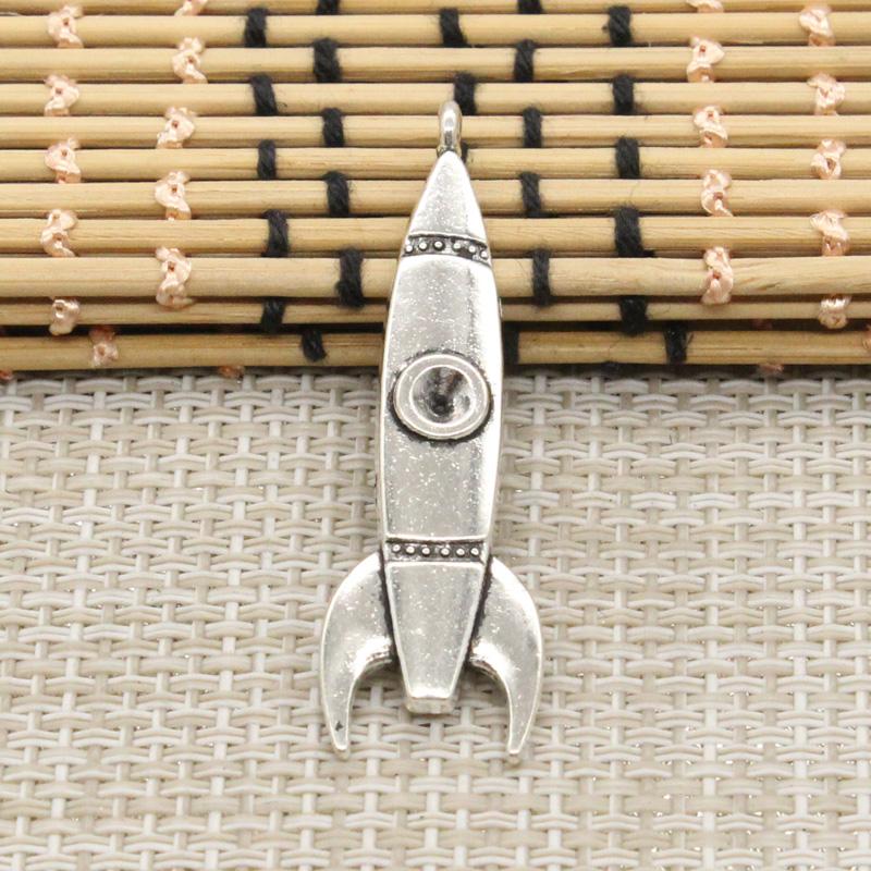 [해외]10pcs 매력 로켓 미사일 50 * 15mm 티벳 실버 도금 펜던트 골동품 보석 만들기 DIY 수제 공예/10pcs Charms rocket missile 50*15mm Tibetan Silver Plated Pendants Antique Jewelry Mak