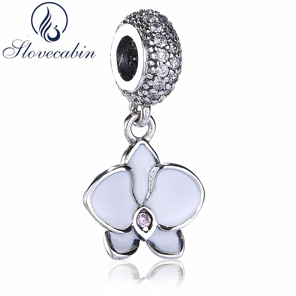 [해외]Slovecabin Diy Fit Charm Bracelet 925 스털링 실버 화이트 오키드 펜던트 쥬얼리 매력 빈티지 트렌디 디 비즈/Slovecabin Diy Fit Charm Bracelet 925 Sterling Silver White Orchid Pe