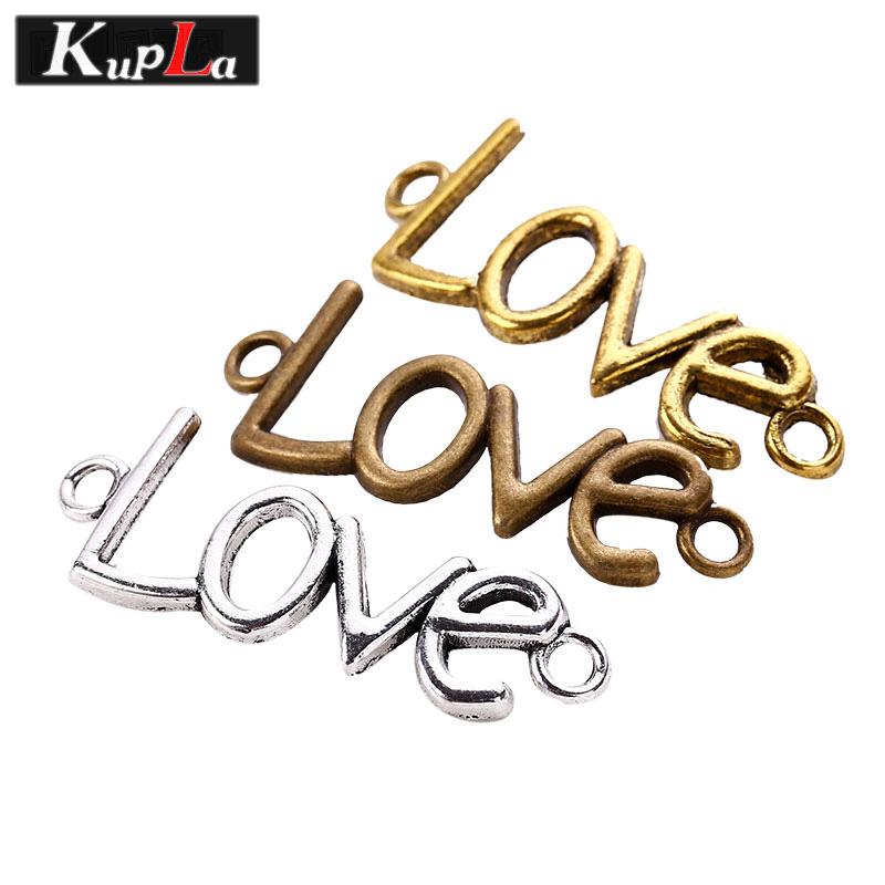[해외]빈티지 금속 편지 사랑 매력 커넥터 팔찌 레트로 DIY 쥬얼리 액세서리 펜던트 매력 30 pieces / lot C5270/Vintage Metal Letter Love Charms Connectors for Bracelets Retro Diy Jewelry A