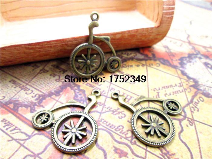 [해외]15pcs 자전거 매력 - 골동품 티벳 청동 색 러블리 자전거 매력 펜던트, 25x22mm/15pcs Bicycle Charms-- Antique Tibetan bronze tone Lovely Bike Charm Pendant ,25x22mm