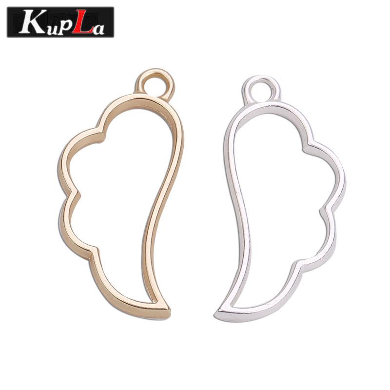 [해외]2 색 세련 된 도금 된 금속 날개 매력에 대 한 DIY 손수 만든 날개 펜 던 트 매력 17 * 36mm 10pcs / lot C5157/2 Color Polished Plated Metal Wings Charms for Jewelry Making DIY Ha
