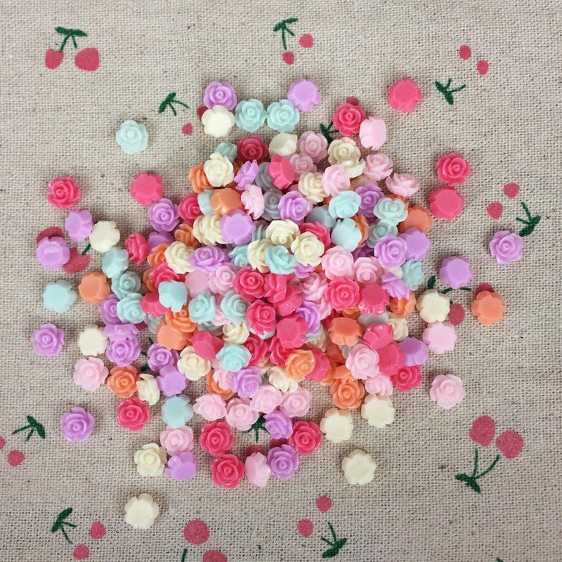 [해외]200Pieces 혼합 색상 Flatback 플랫 다시 수지 꽃 Kawaii 카보 숑 DIY 수 지 공예 장식 바느질 액세서리 매력 : 8mm/200Pieces Mixed Color Flatback Flat Back Resin Flower Kawaii Caboc