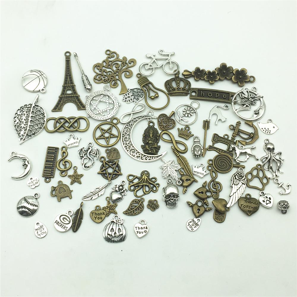 [해외]LJJAGLL 유럽 혼합 된 티벳 매력 100pcs / lot 빈티지 금속 동물 심장 매력 Chrsitmas 시계 펜던트 DIY 쥬얼리 AHK001/LJJAGLL European Mixed Tibetan Charms 100pcs/lot Vintage Metal