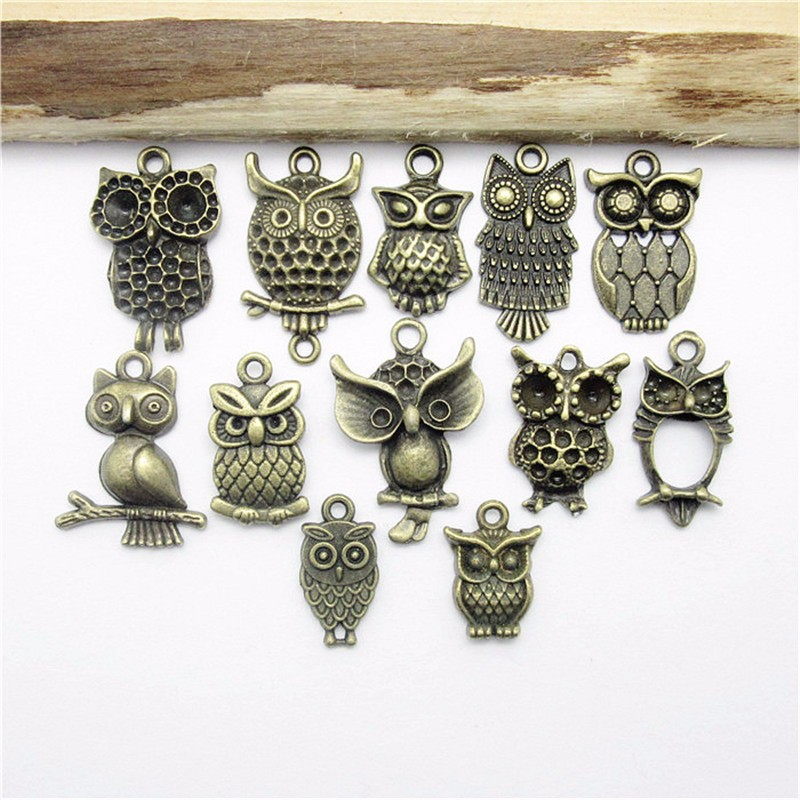 [해외]믹스 48PCS (18 * 10-22 * 18mm) 골동품 청동 올빼미의 매력 펜 던 트 유럽의 팔찌에 맞게 만든 보석 만들기펜 던 트/Mix 48PCS (18*10-22*18mm ) Antique Bronze Owl charm pendants fit Europ