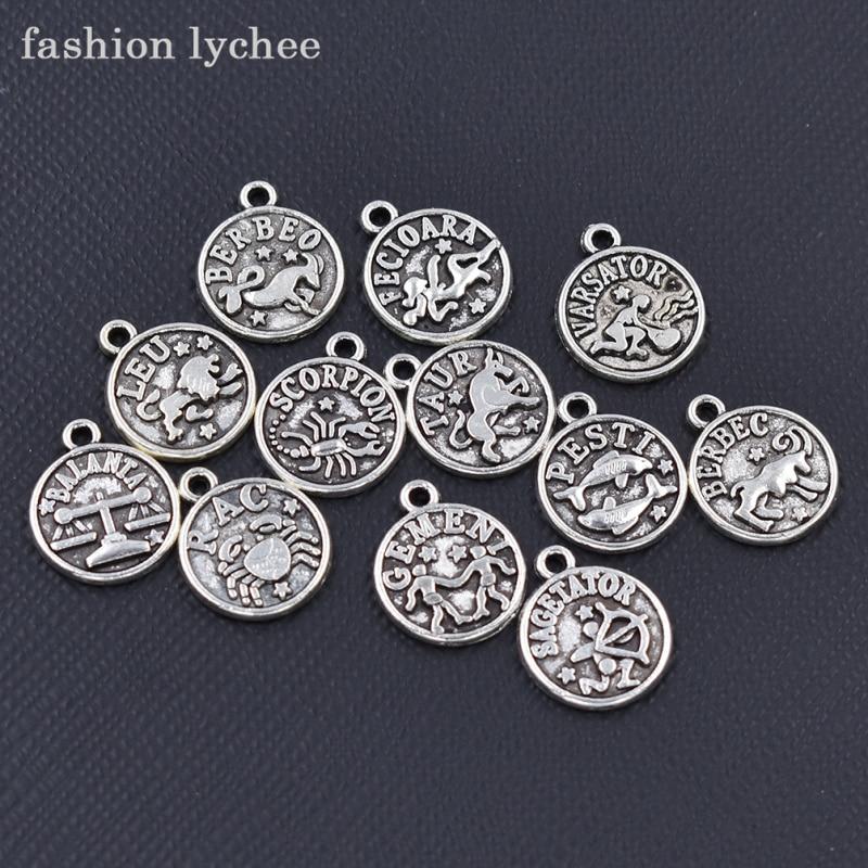 [해외]패션 열매 12pcs 골동품 실버 12 개 점성술의 매력 조디악 스타 로그인 목걸이에 대한 둥근 펜던트 DIY 쥬얼리 만들기/fashion lychee 12pcs Antique Silver Twelve Astrology Charms Zodiac Star Sign