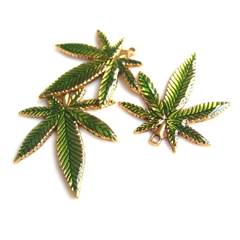 [해외]10pcs 녹색 냄비 리프 잡초 라운드 리프 목걸이 드롭 쥬얼리 녹색 드롭 오일 매력 펜던트/10pcs Green pot Leaf Weed Round leaf Green Drop Oil Charms Pendant for Necklace Jewelry Diy