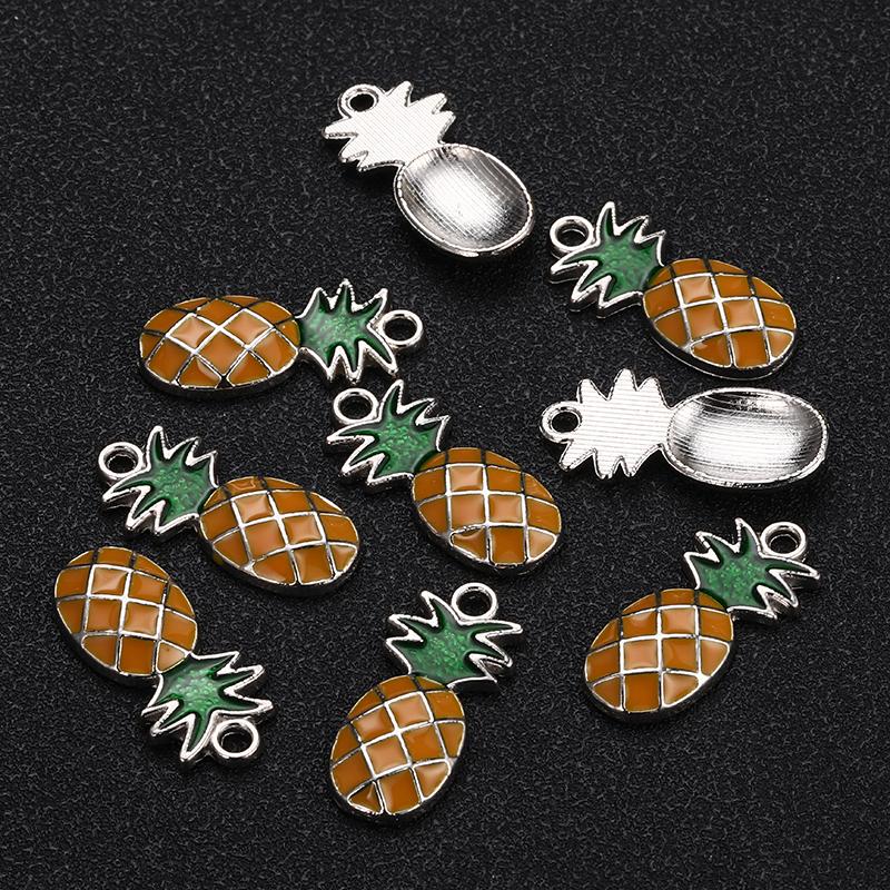 [해외]20PCS 24X11mm 골드 실버 컬러 에나멜 파인애플의 매력 목걸이 과일에 대 한 파인애플 펜 던 트 핸드 메이드 보석 액세서리 만들기/20PCS 24X11mm Gold Silver Color Enamel Pineapple Charms For Necklace