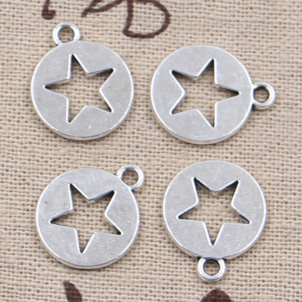 [해외]20pcs 매력 15mm 골동품 실버 도금 펜던트 DIY 수제 티벳 실버 쥬얼리 만들기를 잘라 빈 스타/20pcs Charms hollow star cut out 15mm Antique Silver Plated Pendants Making DIY Handmade