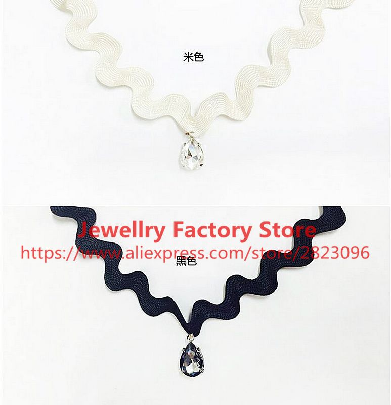 [해외]360pcs / lot 새로운 단일 레이어 블랙 색상 초커 워터 드롭 스타일 목걸이 초커 패션 스타일 보석 쉐브론 목걸이/360pcs/lot new single layer black color choker water drop style necklace choke
