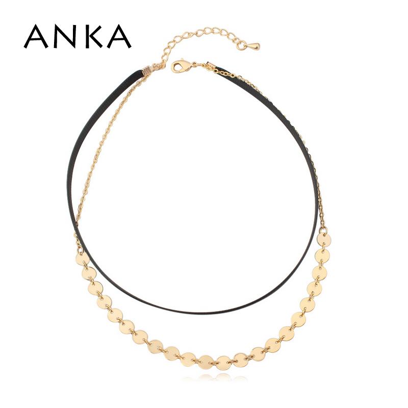 [해외]ANKA 브랜드 여성을심플한 초커 목걸이 지오메트리 라인 모양 골드 컬러 토크 목걸이 지르코니아 CZ 쥬얼리 26040/ANKA brand fashion simple choker necklace for women geometry line shape gold co