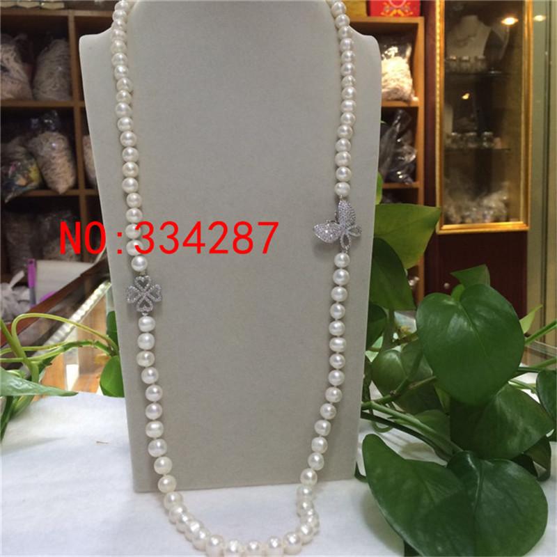 [해외]새로운 천연 담수 흰색 거의 원형 진주 8-9MM 목걸이 30 & 목걸이 스웨터 체인/New natural freshwater white Nearly circular pearl 8-9MM necklace 30& necklace Sweater chain