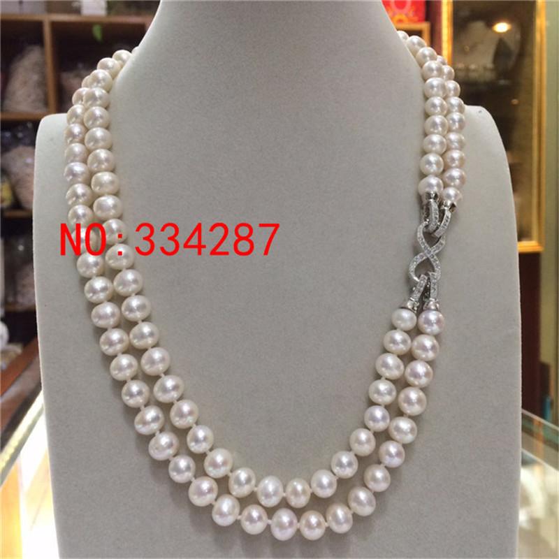 [해외]새로운 천연 담수 흰색 거의 원형 진주 8-9MM 목걸이 18 & A 다기능 목걸이 스웨터 체인/New natural freshwater white Nearly circular pearl 8-9MM necklace 18&A Multi-function ne