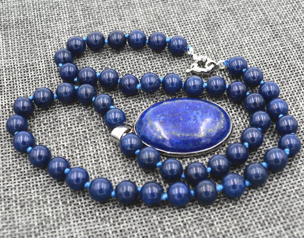 [해외]이집트 Lapis Lazuli Gem stone 둥근 구슬 목걸이 8mm/Egyptian Lapis Lazuli Gem stone Round Beads Necklace 8mm