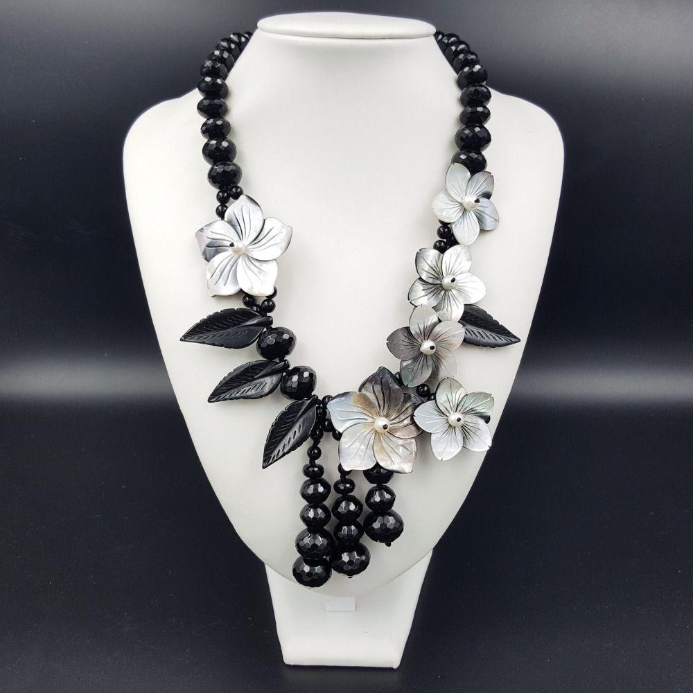 [해외]NEW 천연석 블랙 쿼츠 스톤, 담수 진주 조개 껍질 목걸이 20inch/NEW Natural Stone Black Quartz stone ,Freshwater Pearl Shell Flowers Necklace 20inch