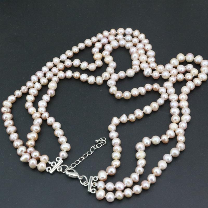 [해외]3 색 여성을자연 담수 진주 7-8mm 둥근 구슬 목걸이 쥬얼리 3 행 패션 체인 선물 선물 17-19 & B3457/3 Colors Natural Freshwater Pearl 7-8mm Round Beads Necklace For Women Jewel