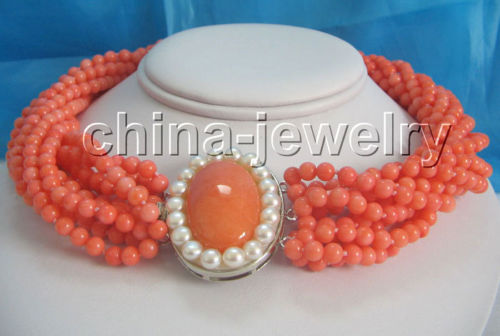 [해외]Charming 18 & 10row 완벽한 5mm 핑크 산호 목걸이/Charming 18& 10row 5mm perfect round pink coral necklace