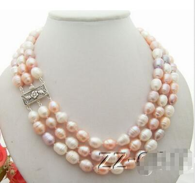 [해외]3Starts 12MM 진주 목걸이 -925 실버 걸쇠 & gt;/3Strds 12MM Pearl Necklace-925 Silver Clasp >