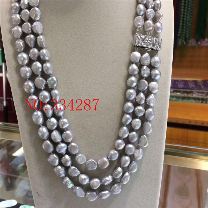 [해외]NEW 천연 회색 담수 진주 바로크 10 - 11MM 3 행 진주 목걸이 20 인치/NEW Natural gray Freshwater Pearl Baroque 10-11MM 3 row pearl necklace 20 inch