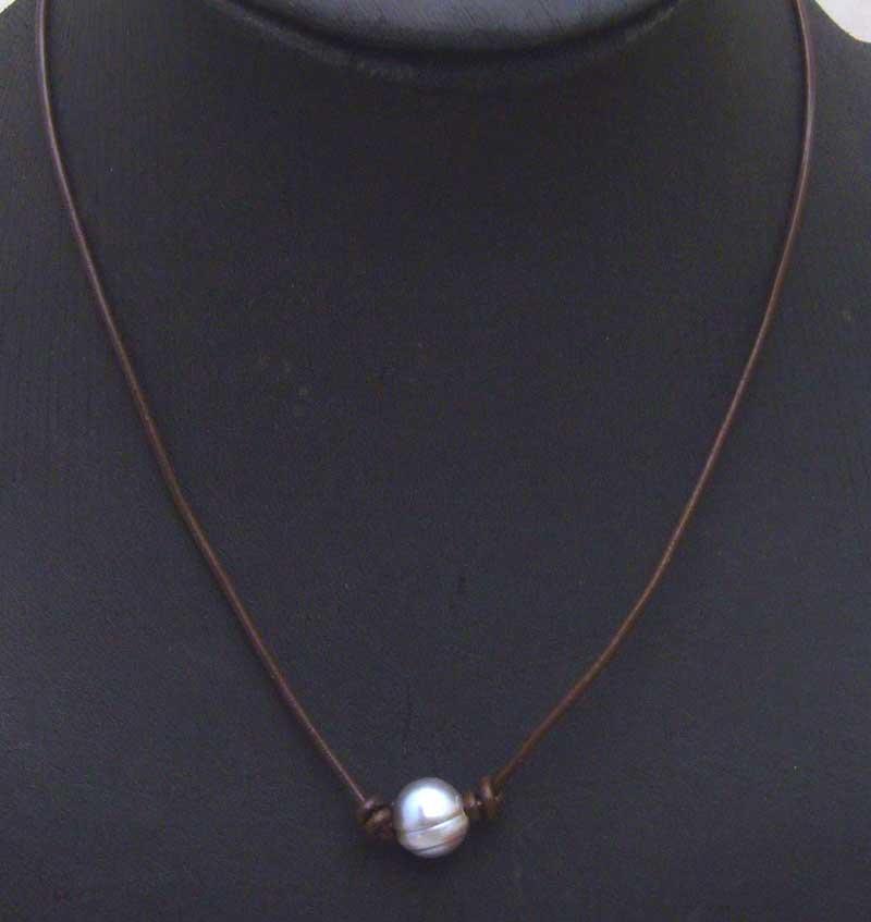 [해외]?큰 10-11mm 그레이 감자 천연 담수 진주 목걸이 18 & 갈색  가죽 -5906 / Retail / Big 10-11mm Gray Potato Natural Freshwater Pearl Necklace 18&brown Genuine Leather