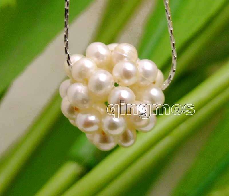 [해외]큰 18-20mm 흰색 4-5mm 자연 진주 handwork 제 볼 라운드 볼 펜 던 트 실버 도금 체인 17 && 목걸이 -neck6193/Big 18-20mm White 4-5mm Natural Pearl handwork Weaving Roun