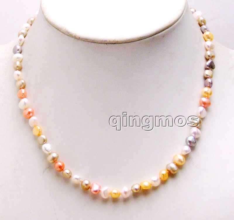 [해외]작은 6-7mm 멀티 컬러 바로크 양식 담수 진주 목걸이 17 && - nec6246 / Retail /Small 6-7mm Multicolor Baroque Natural Freshwater Pearl Necklace 17&&-nec6246 wh