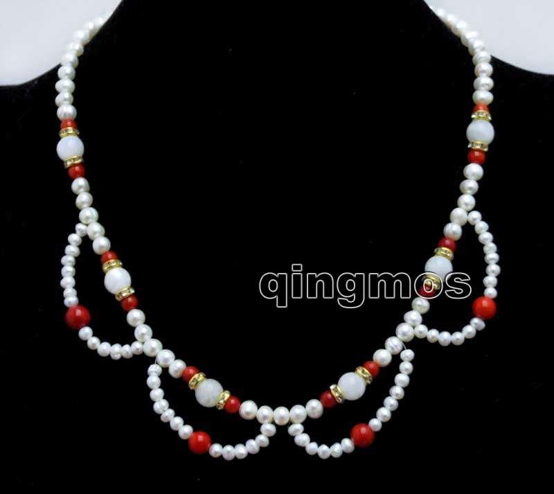 [해외]여자 매력 백색 꽃 레이스 4-6mm 백색 둥근 자연 진주 및 8mm 문스톤 & amp; 붉은 산호 17 & 목걸이-nec6433/Women Charm White Flower Lace 4-6mm White Round Natural Pearl and