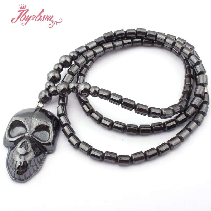 [해외]4x5mm 검은 열 (아니 자기) 적 패션 보석에 대 한 적 층 석 자연 비즈 펜 던 트 목걸이 20 &/4x5mm Black Column (No Magnetic) Hematite Natural Stone Beads For Tribal Fashion Je