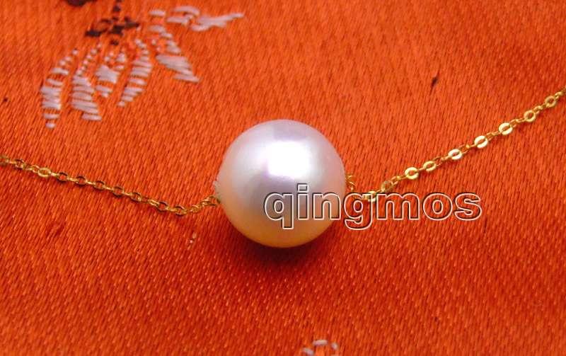 [해외]Geniue 골드 체인 AAA 10-11mm 화이트 라운드 천연 담수 진주 16 & necklace - nec6164 / Retail /Geniue gold Chain Floating AAA 10-11mm White Round Natural Freshwa