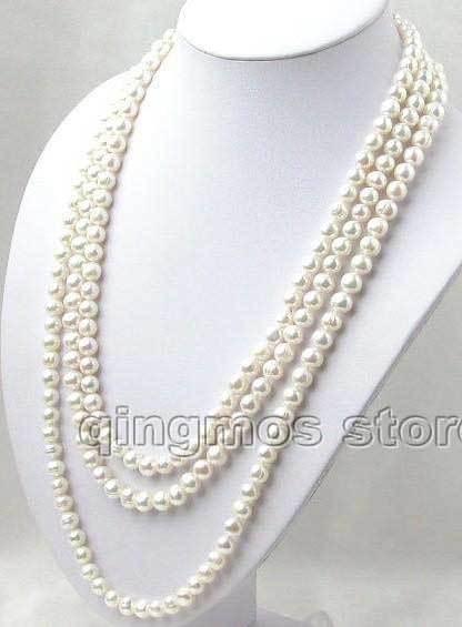 [해외]?천연 담수 진주 목걸이 슈퍼 롱 80cm 7-8mm 목걸이 nec1074 송료 무료 송료 무료/ Super Long 80 inch 7-8mm round natural White Freshwater Pearl Necklace-nec1074 Free shippin