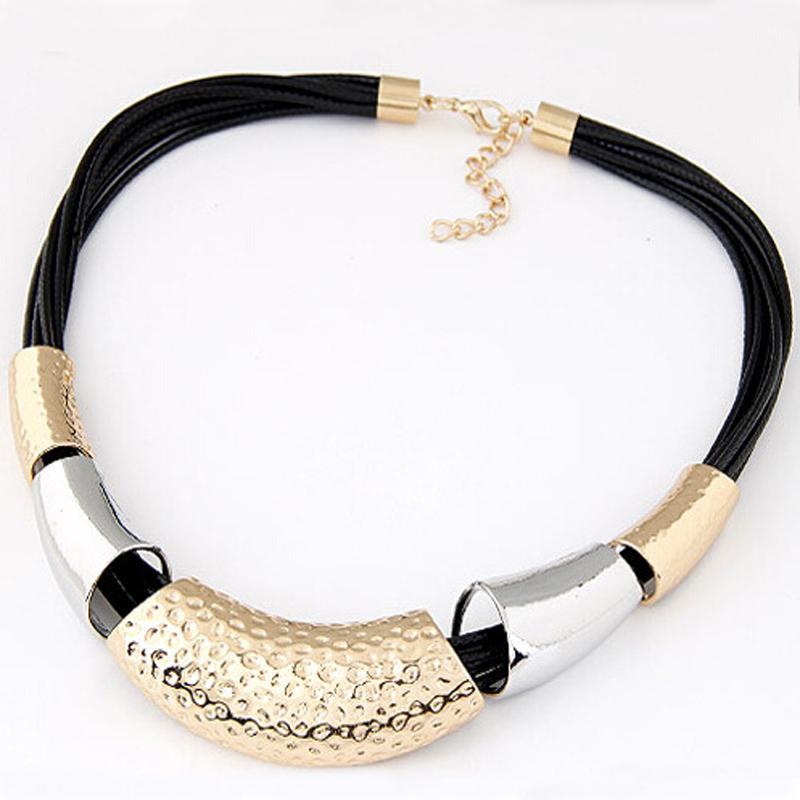 [해외]새로운 파워 펑크 왁스 밧줄 펑크 목걸이 Chunky 기하학 Cklace 성명 목걸이 쥬얼리 패션 숙녀/New Power Punk Wax Rope Punk Necklace Chunky Geometric Cklace Statement Collar Jewelry F