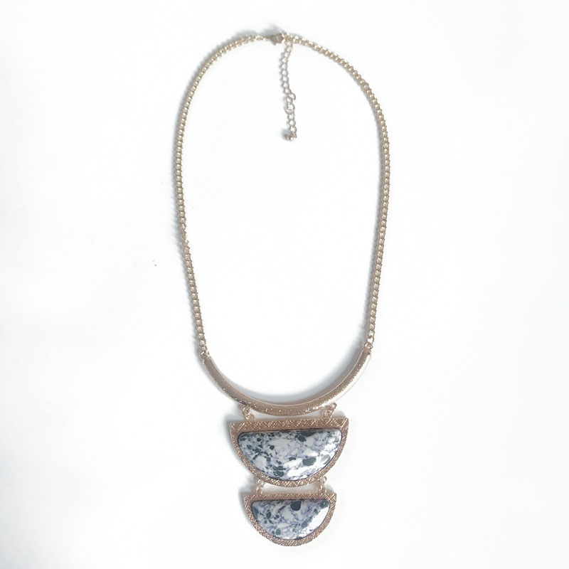 [해외]?새로운 천연 대리석 스톤 Chunky Collar Necklace/ New Natural Marble Stone Chunky Collar Necklace