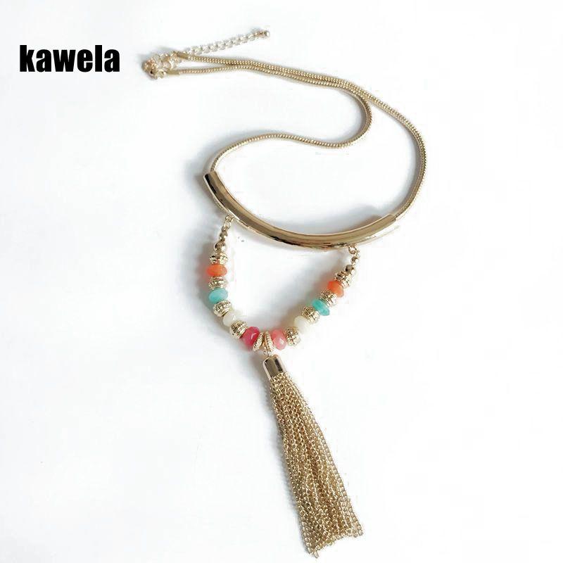 [해외]?새로운 패션 달콤한 스톤 술의 체인 펜던트 칼라 보헤미아 스타일의 목걸이/ New Fashion Sweet Stone Tassel Chain Pendant Collar Bohemia Styles Necklace