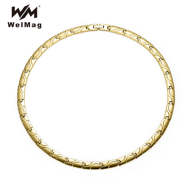 [해외]WelMag 2018 트렌디 에너지 테라피 마그네틱 목걸이 치유 골드 컬러 티타늄 목걸이 링크 남성용 여성용 체인/WelMag 2018 Trendy Energy Therapy Magnetic Necklaces Healing Gold color Titanium N