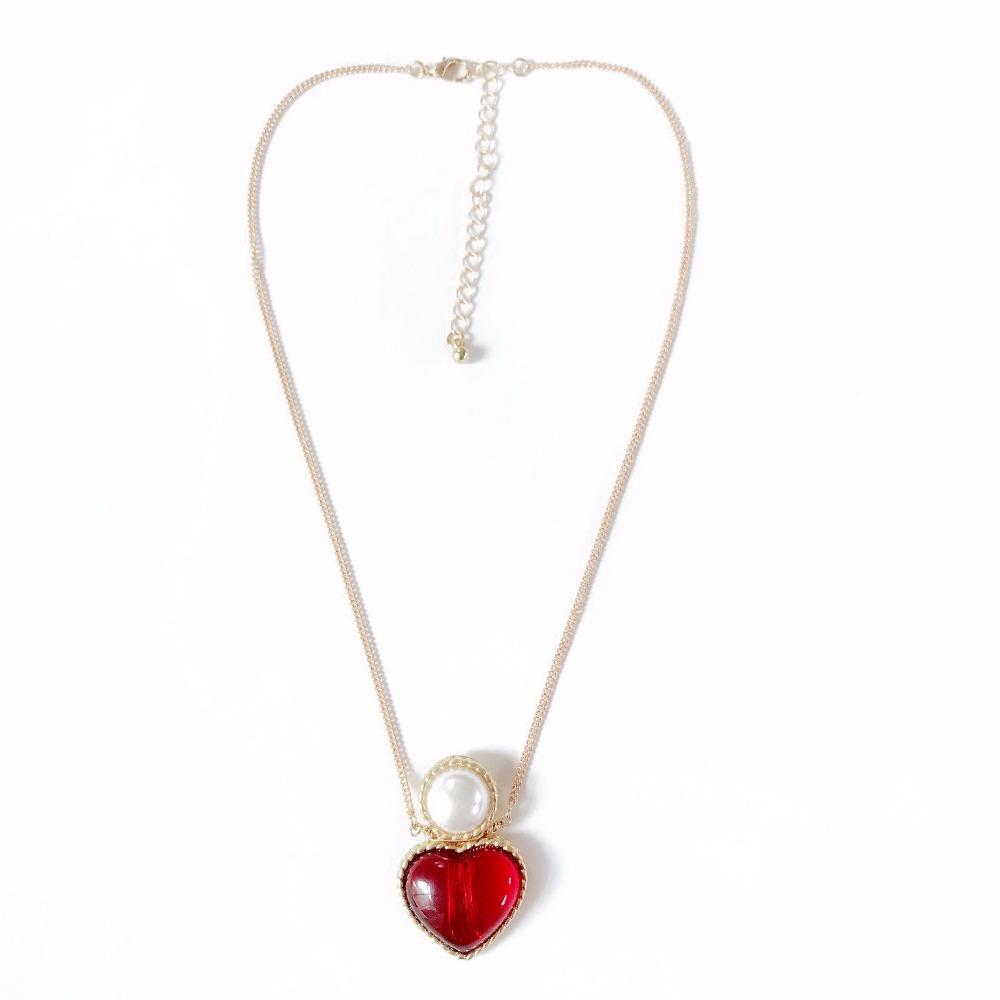 [해외]?붉은 심장 패션 달콤한 귀여운 펜던트 목걸이/ Red Heart Fashion Sweet Cute Pendant Necklace