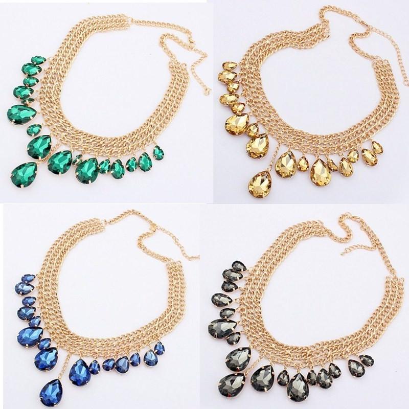 [해외]빈티지 Boho 워터 드롭 크리스탈 비즈 펜던트 목걸이 라인 석 돌 보석 매력 턱받이 선언 골드 체인 여성 패션 쥬얼리/Vintage Boho Water Drop Crystal Beads Pendant Necklace Rhinestone Stone Gem Cha