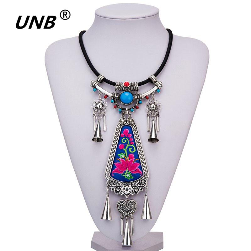 [해외]UNB 2017 새로운 수제 크리 에이 티브 Tessal Pendents 목걸이 독특한 Boho 보헤미아 롱 체인 목걸이 자수 민족 보석 선물/UNB 2017 New Handmade Creative Tessal Pendents Necklace Unique Boh