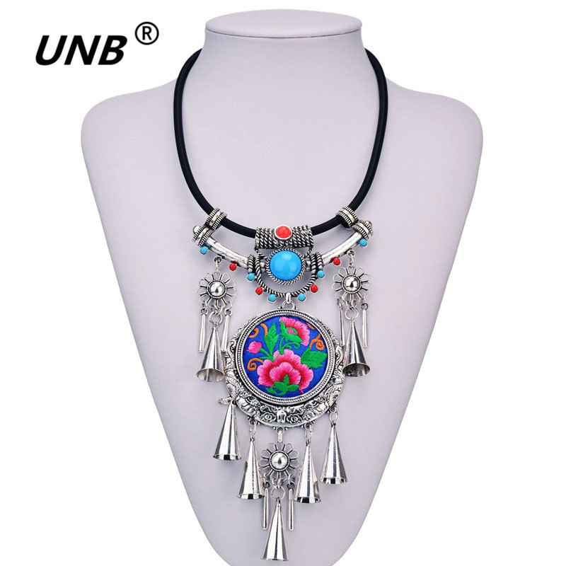 [해외]UNB 여성 민족 목걸이 & 펜던트 Multicolor Boho Choker 보헤미아 목걸이 여성 쥬얼리 빈티지 맥시 자수 꽃 목걸이/UNB Women Ethnic Necklace&Pendant Multicolor Boho Choker Bohemi