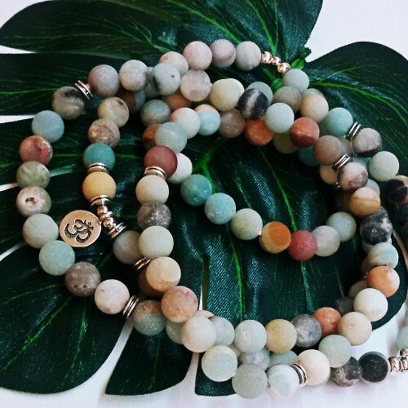 [해외]Mcllroy Yoga senior 퍼플 크리스탈 천연석 팔찌 108 Mala Necklace Matte Amazonite Jewelry 2018 하락 배송비/Mcllroy Yoga senior Purple crystal Natural Stone Bracelet