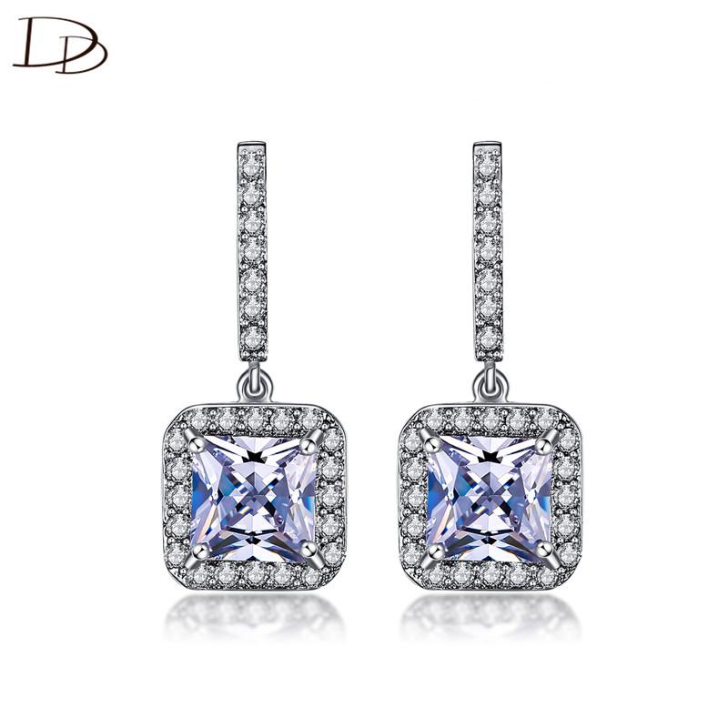 [해외]여자를평방 지 르 콘 귀걸이 빈티지 925 스털링 실버 긴 귀걸이 femme 패션 보석 brincos 드 페 스타 선물 DDe033/square zircon earrings for women vintage 925 sterling silver long earrin