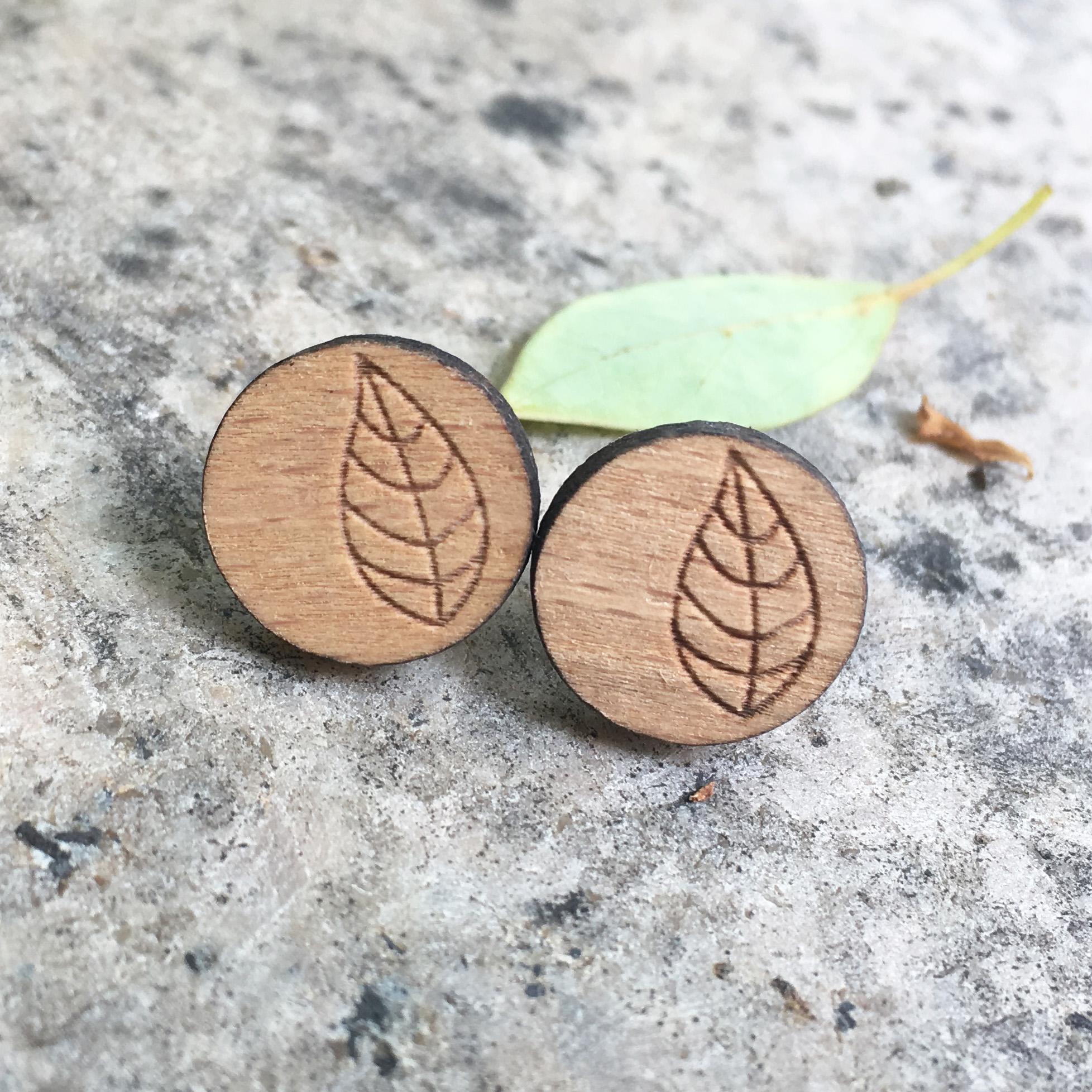 [해외]천연 레이저 새겨진 리프 귀걸이 트리 스터드 공장 나무 귀걸이 X 1 쌍/Natural Laser Engraved Leaf Earrings Tree Stud Plant Wooden Earring X 1 Pair