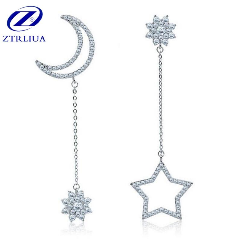 [해외]925 스털링 실버 패션 주얼리 기질 지르콘 비대칭 달과 스타 크리스탈 여성 안티 알레르기 귀걸이 SE217/925 Sterling Silver Fashion Jewelry Temperament Zircon Asymmetric Moon And Star Cryst