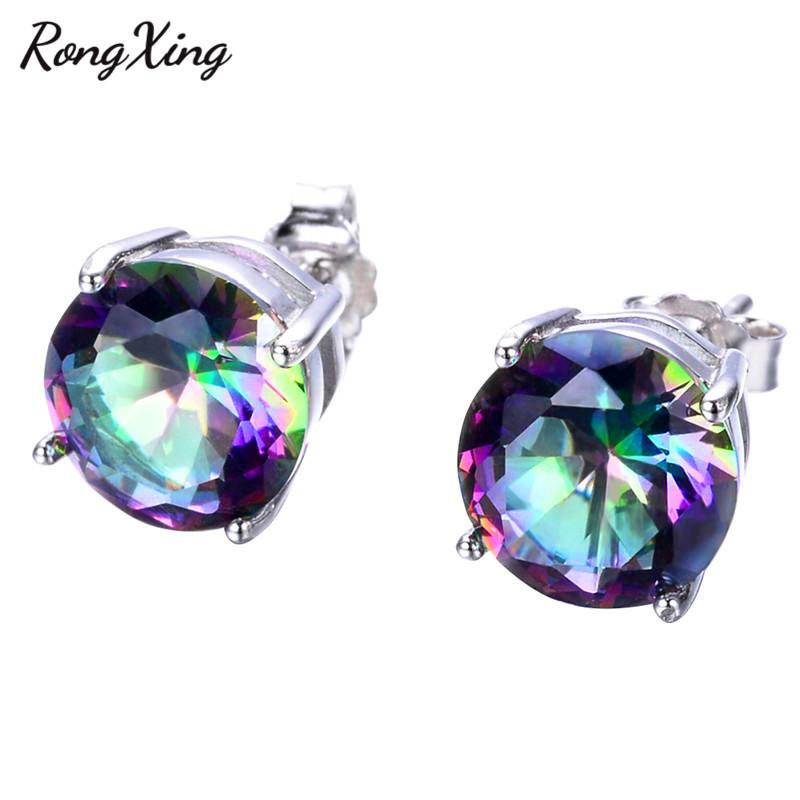 [해외]RongXing 신비한 무지개 / 화이트 지르콘 925 스털링 실버 스터드 귀걸이 여성을웨딩 화려한 화재 오팔 귀걸이 Ear0666/RongXing Mystic Rainbow/White Zircon 925 Sterling Silver Stud Earrings F