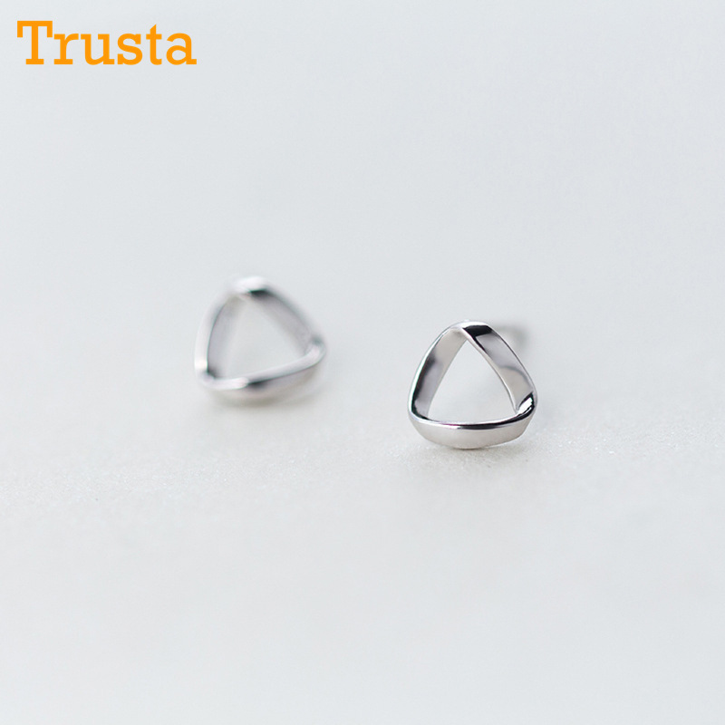 [해외]Trusta 100 % 925 스털링 실버 여성 쥬얼리 세련된 귀여운 7mmX7mm 중공 삼각형 스터드 귀걸이 여자애 DS83을위한/Trusta 100% 925 Sterling Silver Women Jewelry Fashion Cute Tiny 7mmX7mm